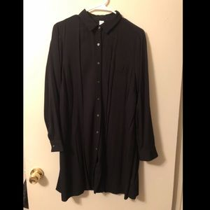 Old Navy Black Long Sleeve Button Down Tunic/Dress
